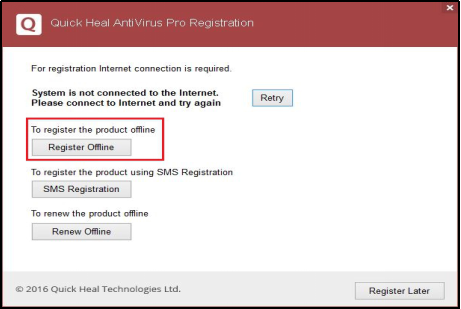 Quick Heal Antivirus License Registration Offline